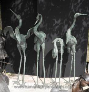 Set 4 japonais Bronze Cigognes Oiseaux Cigogne Grues Flamingo