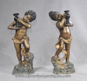 Statues paire française Bronze Cherub Chérubins Putti