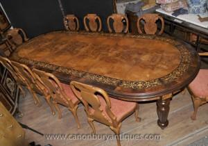 Victorienne Noyer Dining Set table et chaises Queen Anne