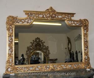 Victoriennes Gilt Mantel Mirror Miroirs de cadre fleuri