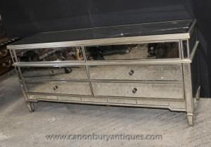 XL Art déco miroir poitrine tiroirs Buffet Miroir Meubles