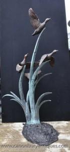 XL Bronze Oies Fontaine Water Garden Feature Statue Canards Oiseaux