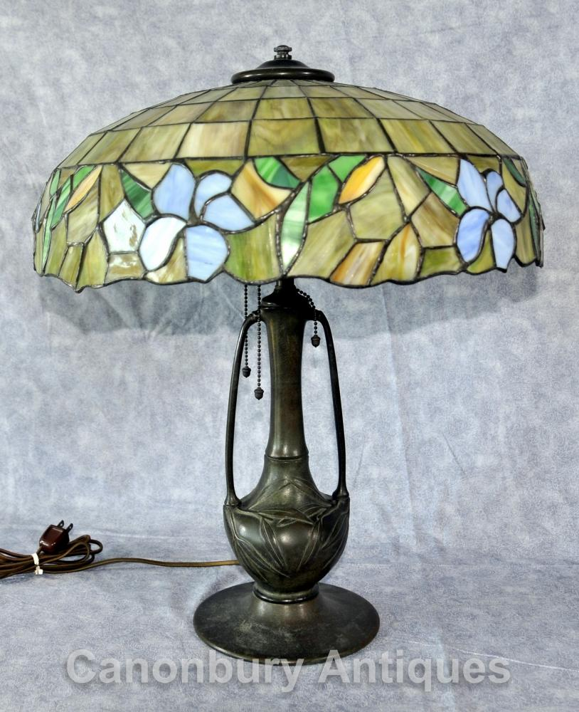 Art Antique Nouveau Tiffany Light Table Lamp Verre
