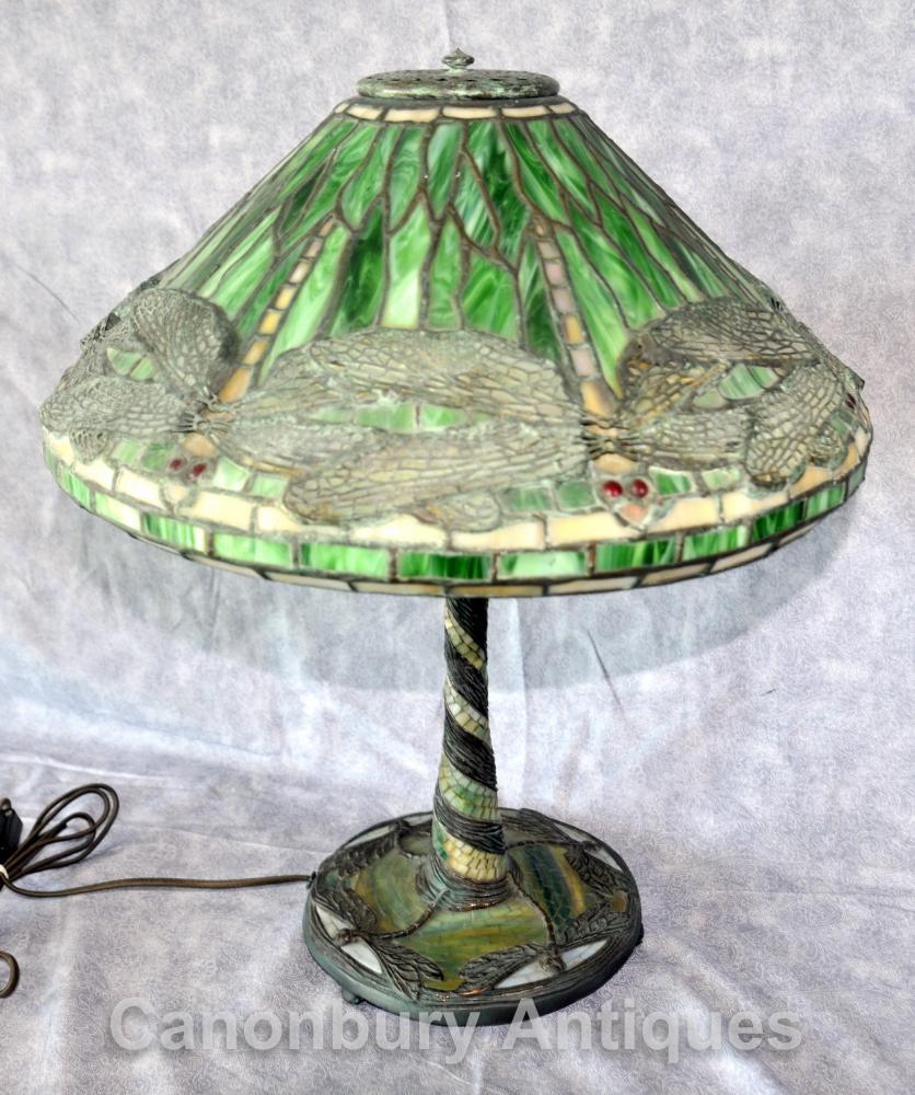 Art Nouveau Tiffany Table Lamp Dragon Fly Table lumineuse