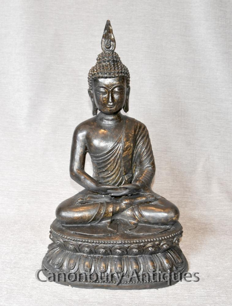Bronze bouddhiste tibétain Statue de Bouddha Art Dhyana Mudra Méditation