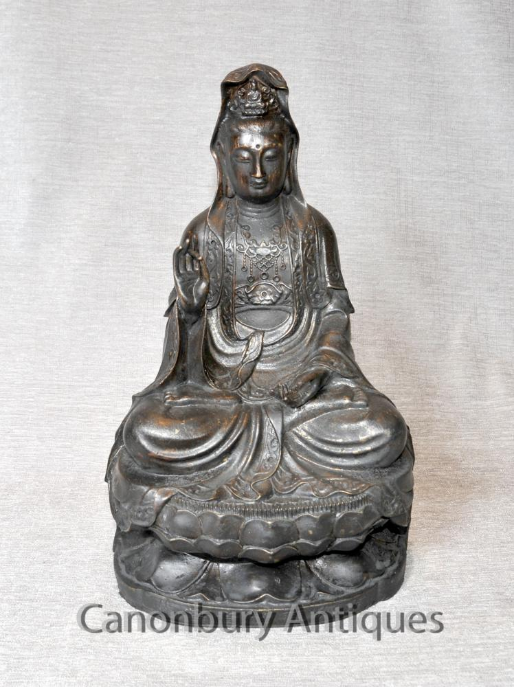 Bronze tibétain Statue de Bouddha Méditation Pose Abhaya Mudra art bouddhique