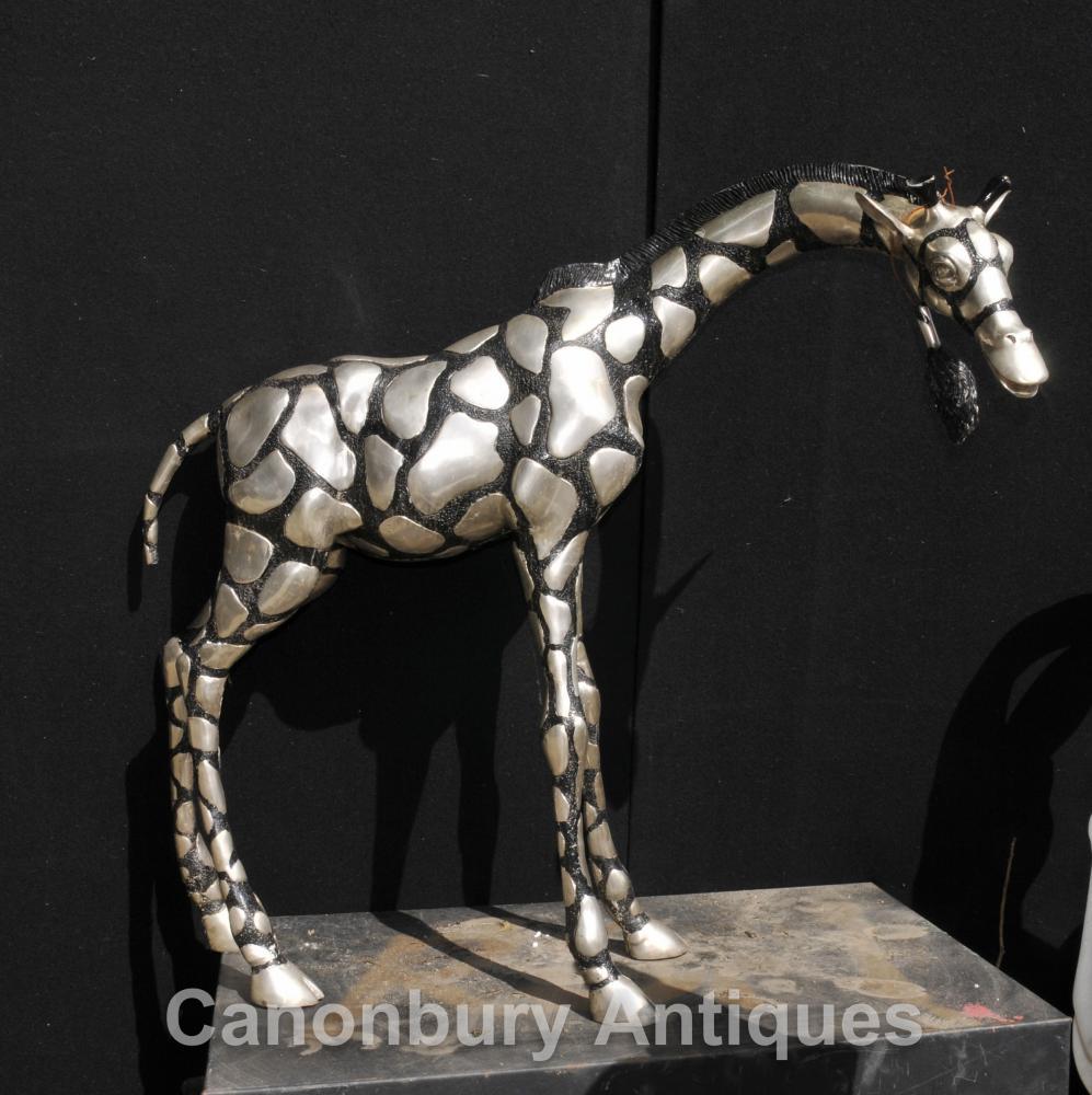 Grand Argent Bronze africain Giraffe Statue casting Art Tribal