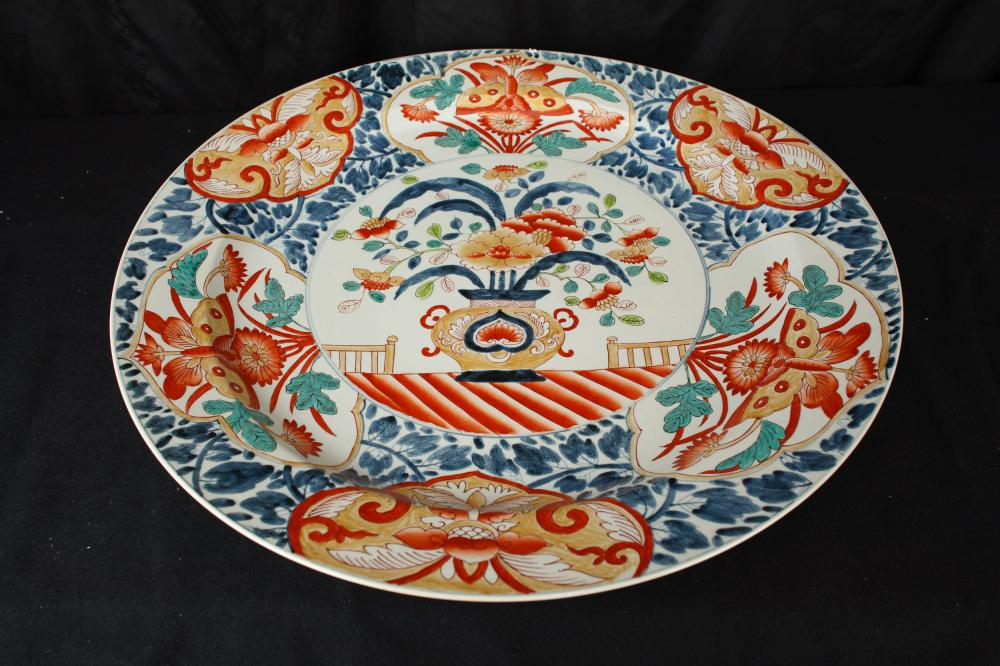 Grand chinoise en porcelaine Imari Plate Plaque Plat Poterie Chine
