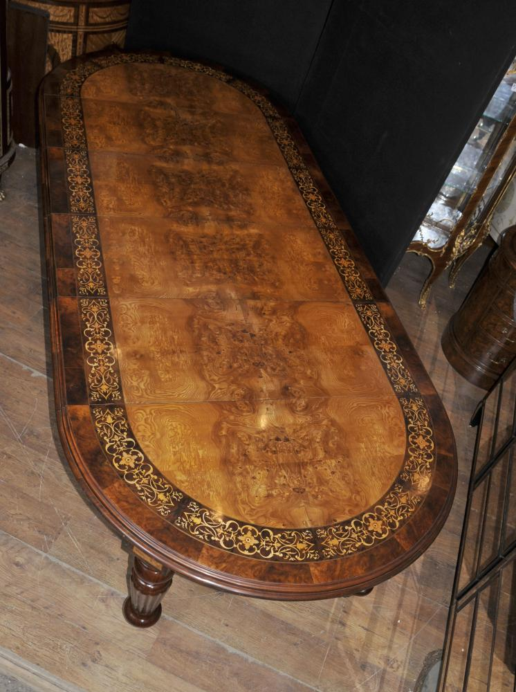 Noyer manger victorienne Table Marqueterie Inlay Extension Dix places