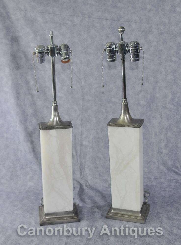 Paire Art Déco bronze et albâtre lampes de table Lumières