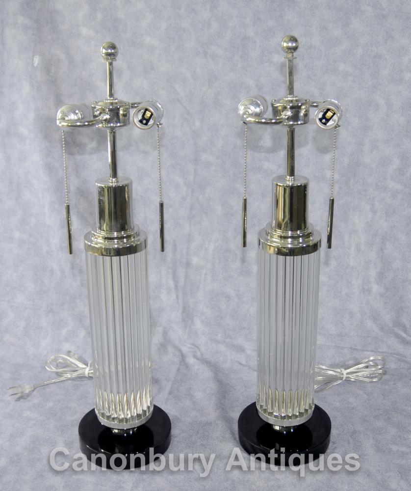 Paire Art Déco plaque de verre Argent Lampe de table Lampes