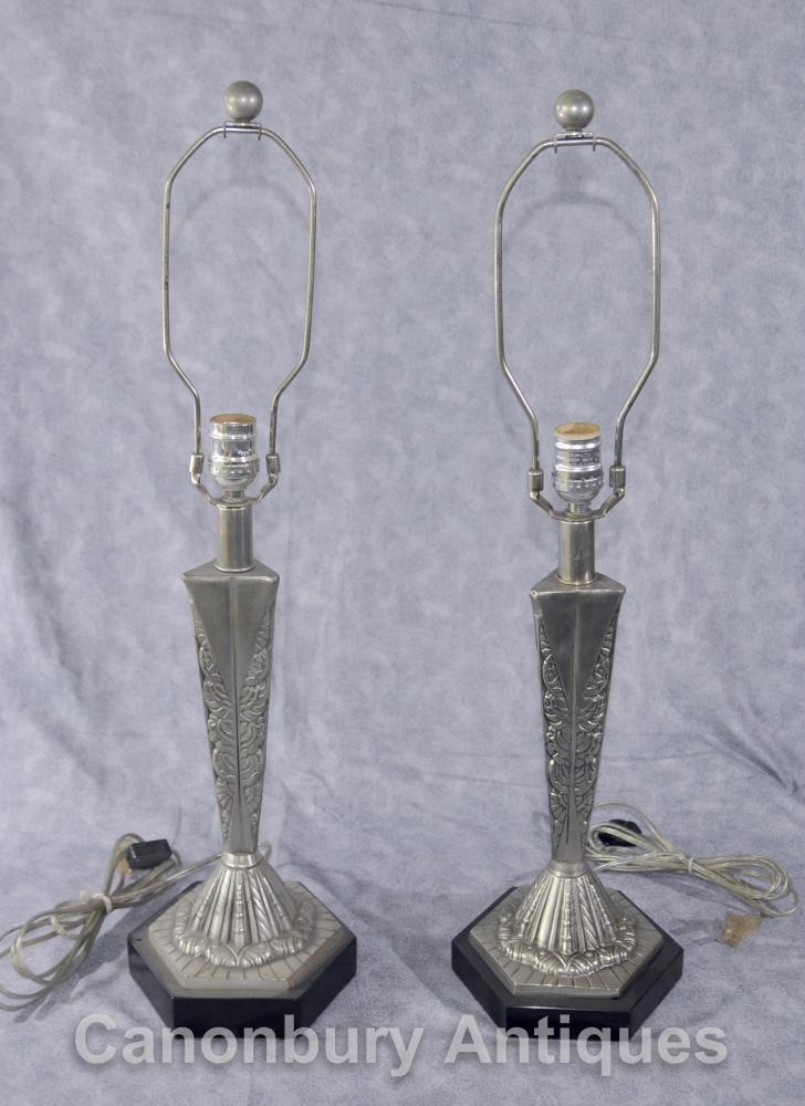 Paire Art Français Deco Table Lampes Argent Bronze