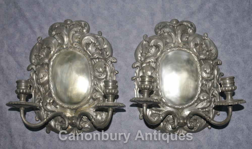Paire français Louis XVI Argent Plate Rococo Bras Appliques