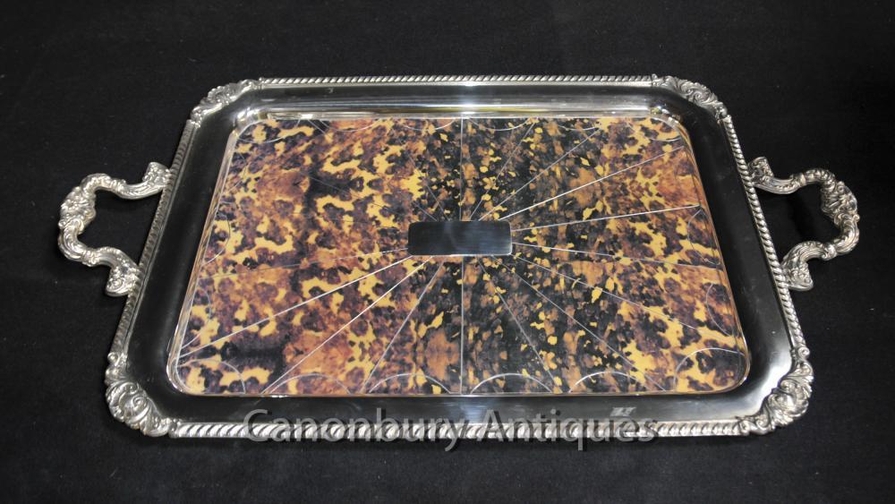 Regency Silver Plate Plateau Butlers Platter Faux écaille