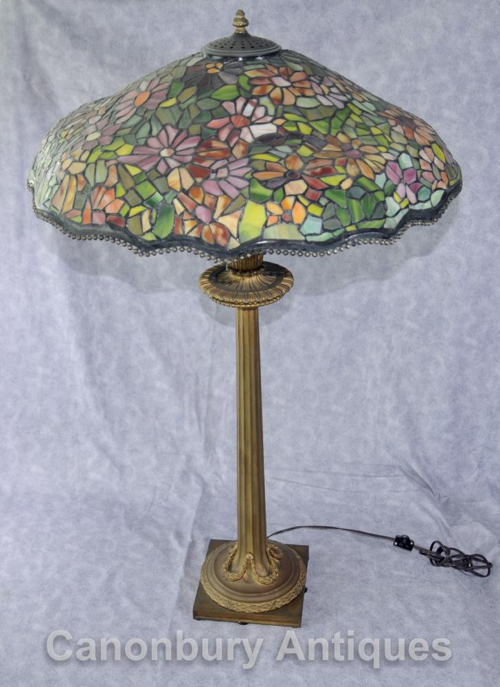 Shade française antique Bronze Tiffany Lampe de table en verre clair