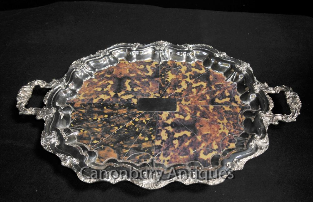 Silver Plate victorienne Butlers Tray Platter Faux écaille rococo