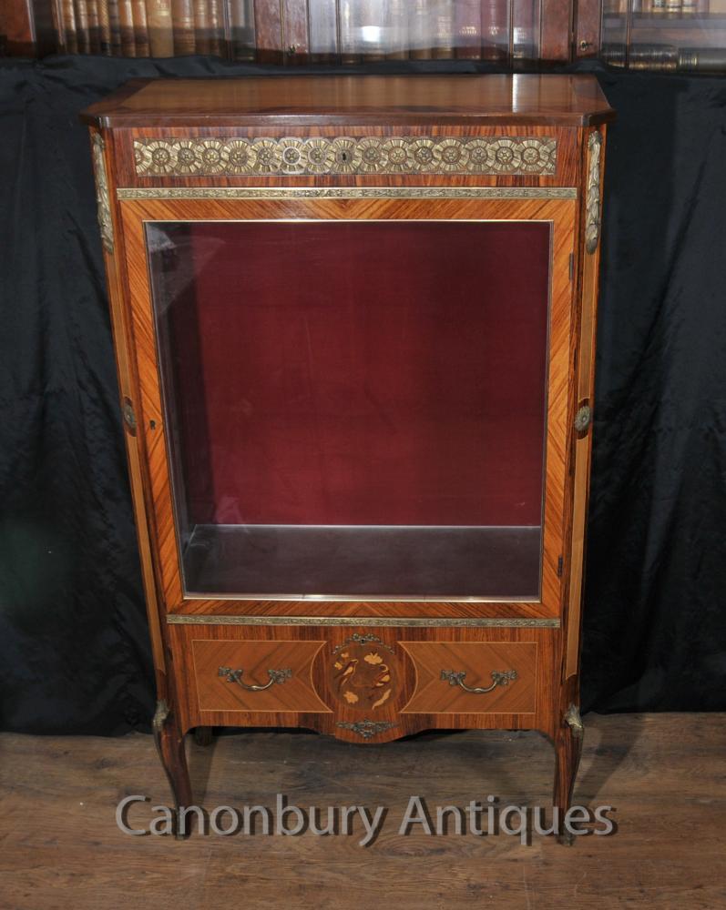 Affichage française antique Empire verre Cabinet Bijouterie Case