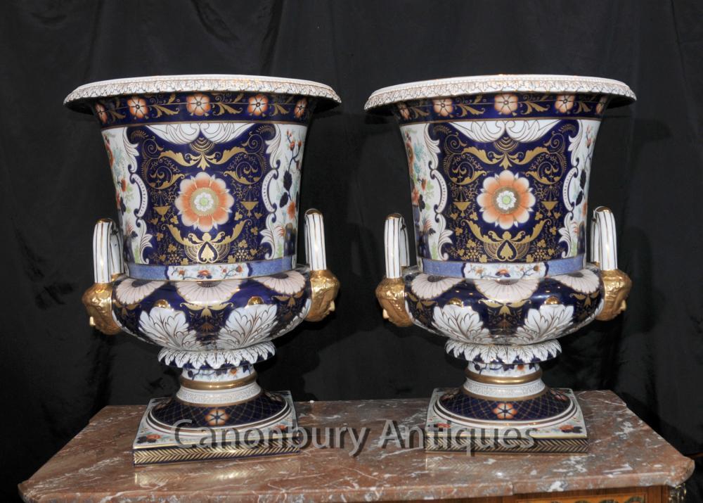 Anglais Derby Porcelaine Campana Urnes Planters vases de fleurs