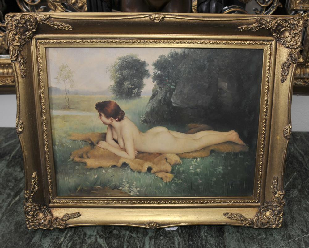 Anglais Edwardian Femme nue Portrait cadre doré Art