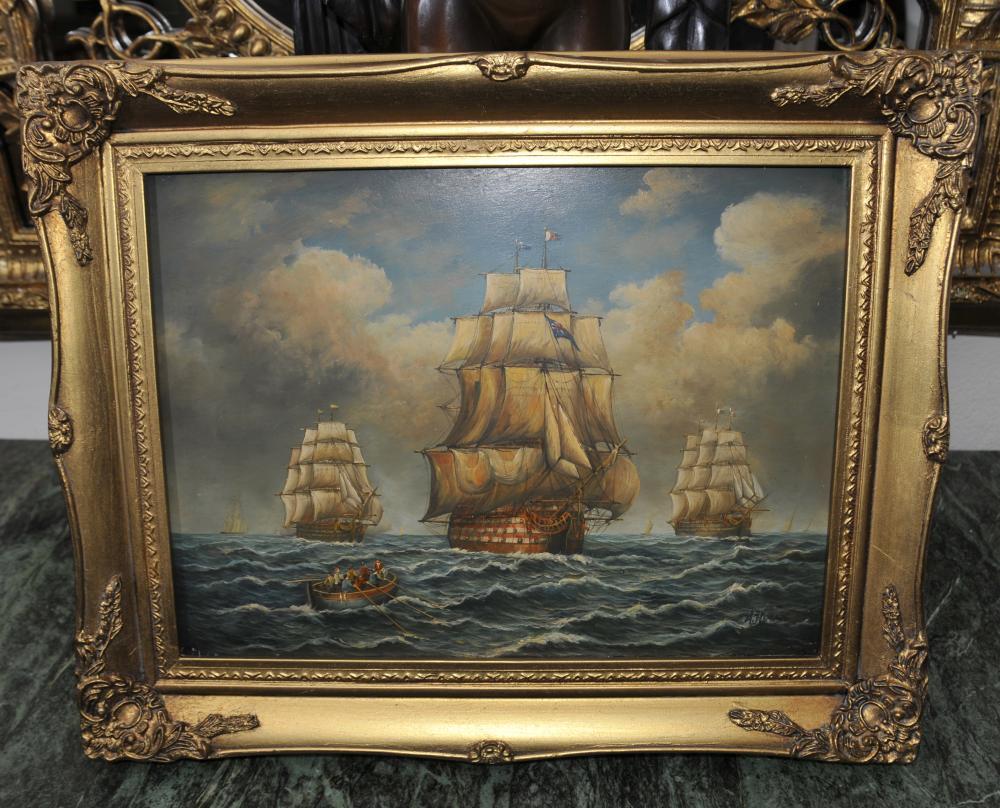 Anglais Peinture à l'huile victorienne Armada Galleon navire Seascape Signé