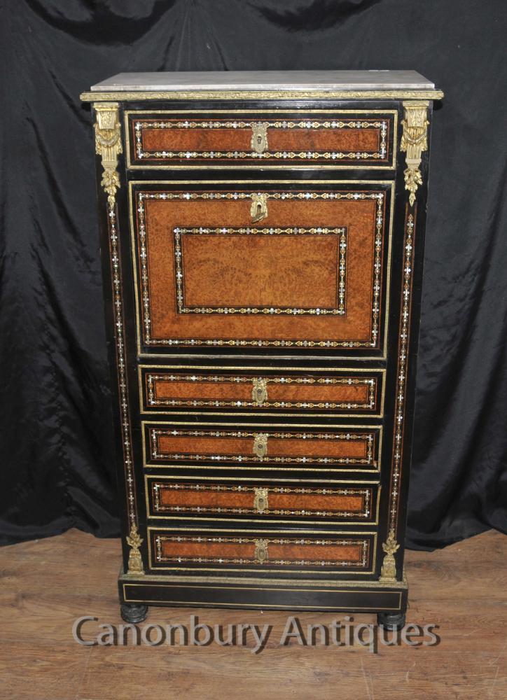 Antique Napoléon III incrusté Secretaire bureau Cabinet Nacre