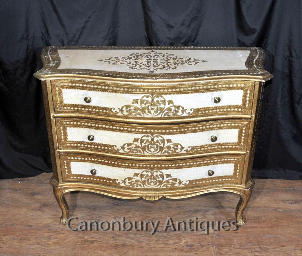 Antique italien néoclassique Painted Chest Tiroirs Commode Cabinet