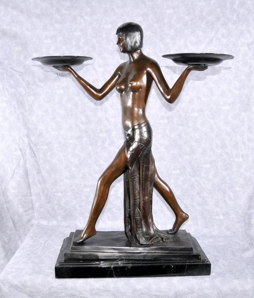 Art Déco français Biba figurine fille des années 1920 Nude Statue par Preiss