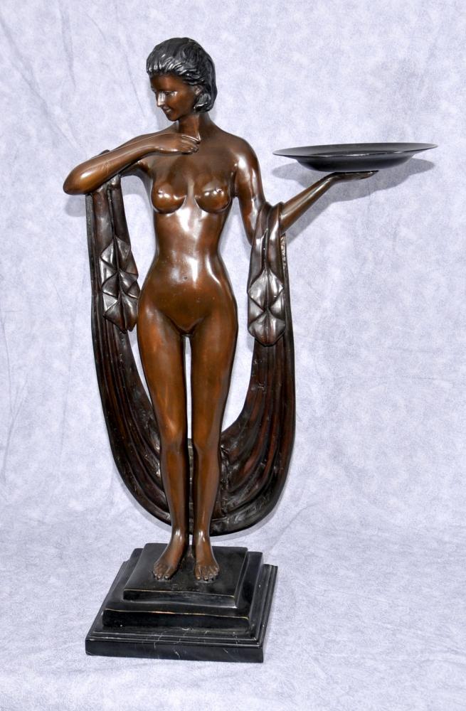 Art Deco Bronze Figurine Biba semi Femme nue Plateau Statue