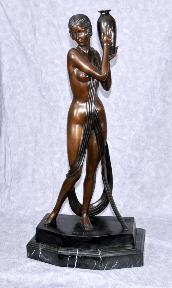 Art déco français Bronze Figurine semi Nu Signé Pierre Laurel Statue