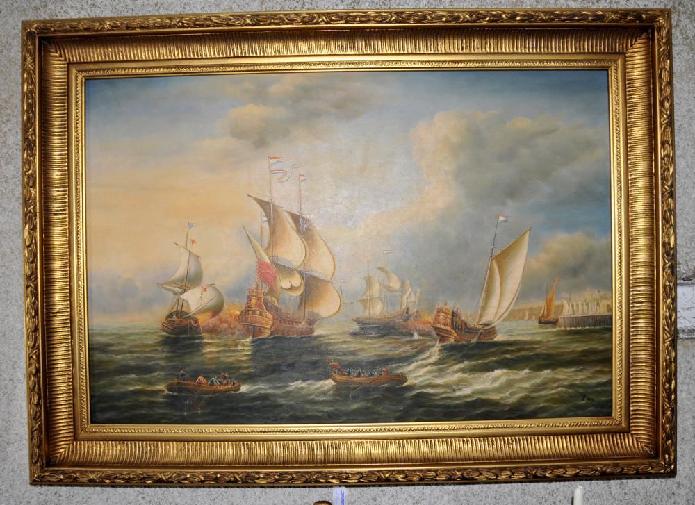 Bataille de Trafalgar royale Oil Marine Peinture cadre doré