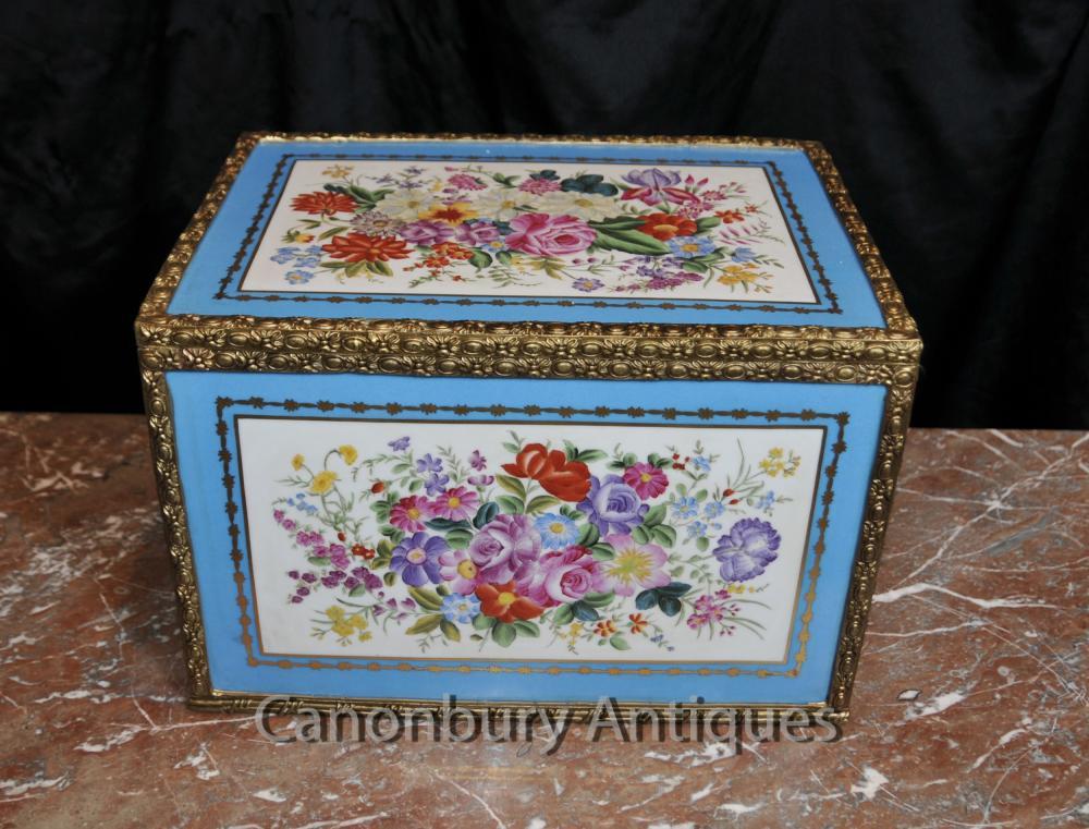 Case français porcelaine de Sèvres Floral Boîte à bijoux Bijou