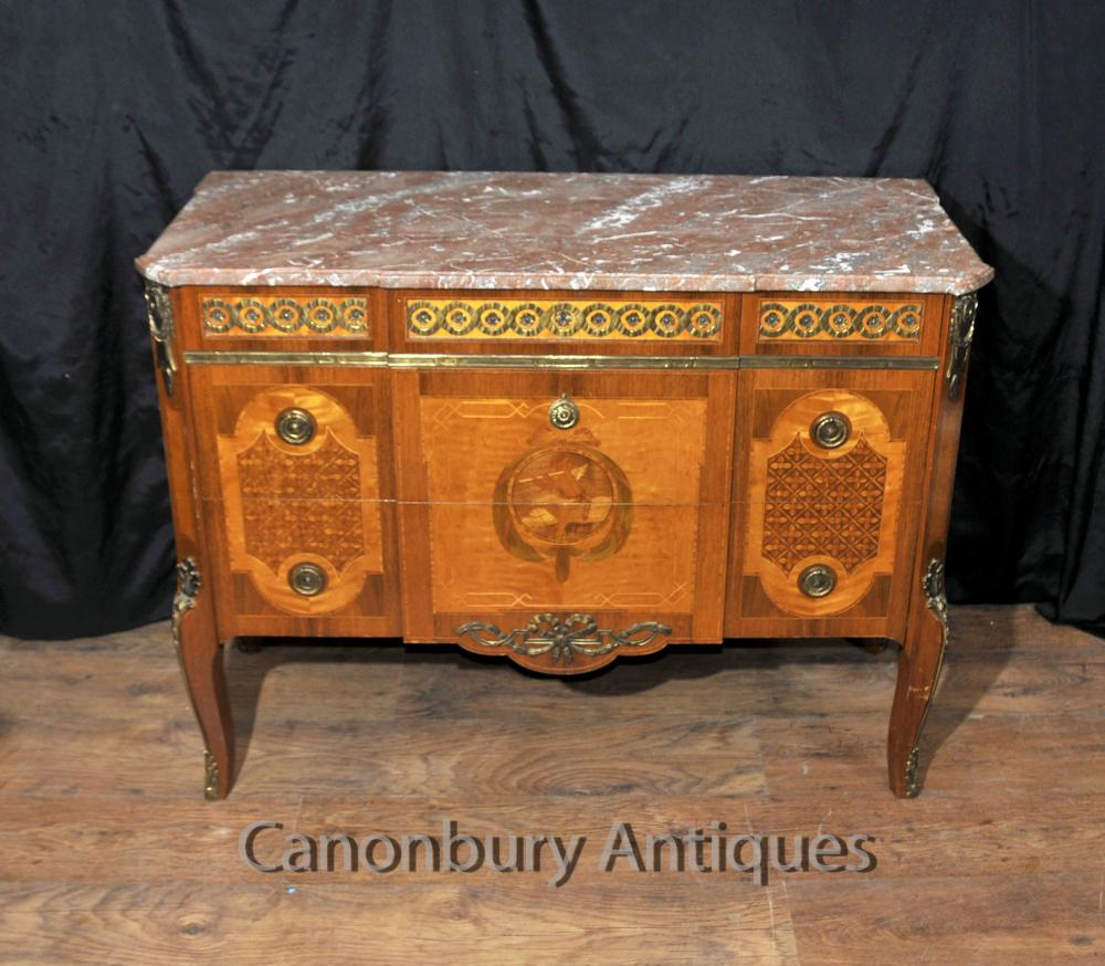 Empire français Antique Commode Commode tiroirs Chérubin Inlay