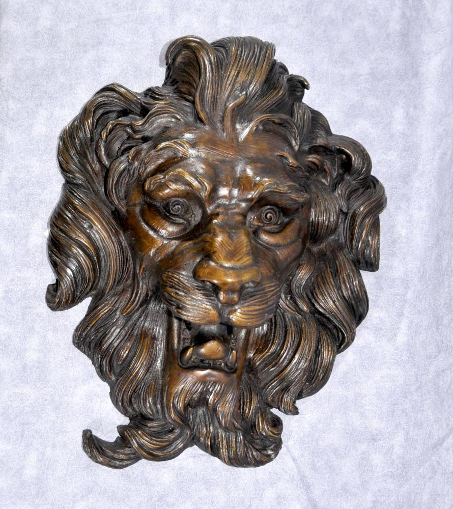 Français Bronze baroque Lions Head Plaque Chats Mane