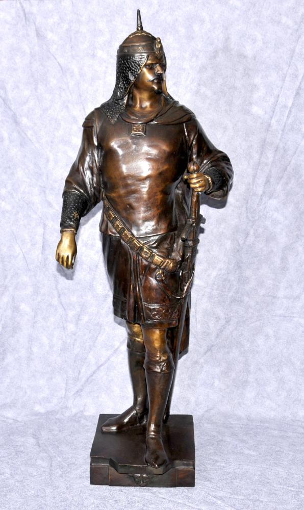 Français Bronze croisé médiéval Chevalier Statue Figurine