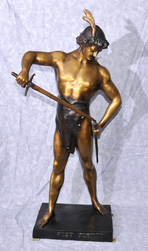 Grand Bronze Victoire Homme Statue Figurine par Picault Poster Pugnam