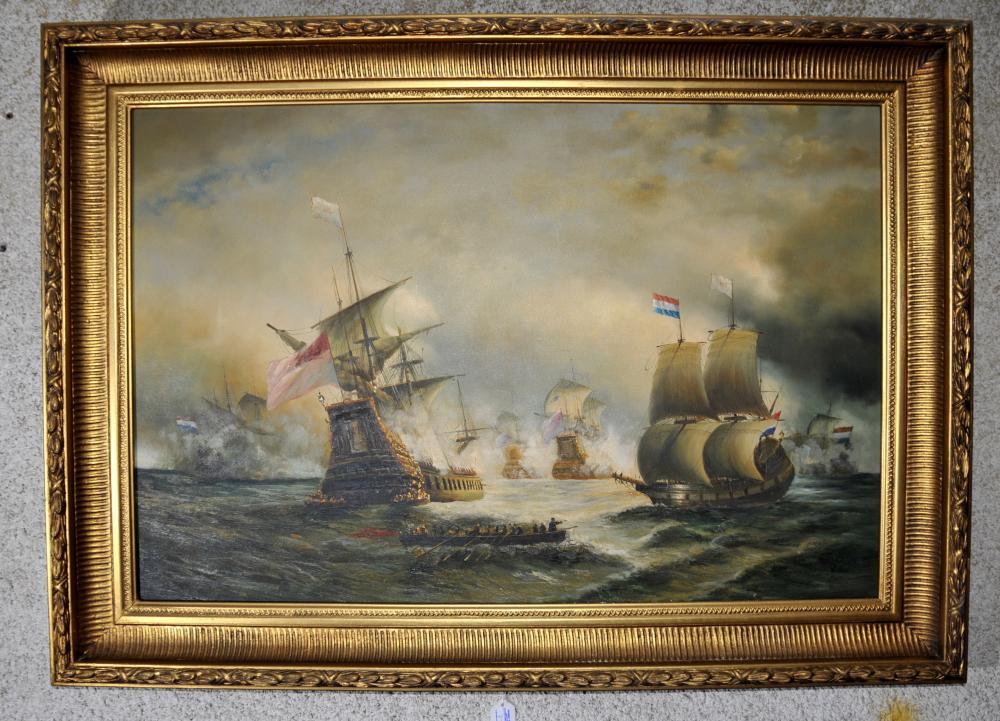 Grande Bataille de peinture à l'huile de Victoria du Cadre Trafalgar Seascape Gilt