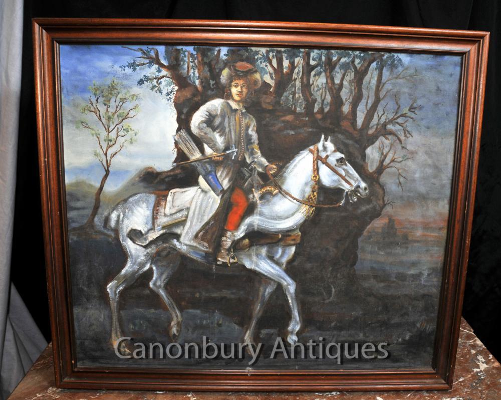 Huile antique peinture anglaise Archer Cavalier à cheval d'art 1920