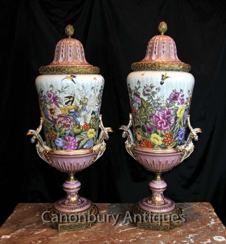 Paire Rose Tropical porcelaine de Sèvres Urnes Vases Ormolu