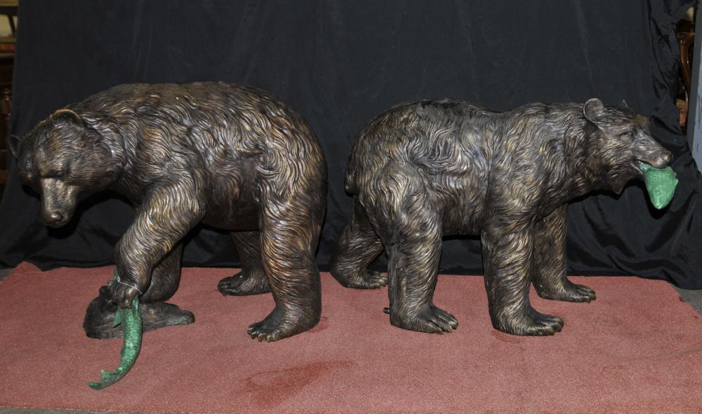 Paire français Bronze Grizzly américaine Ours Fontaines Statues Salmon