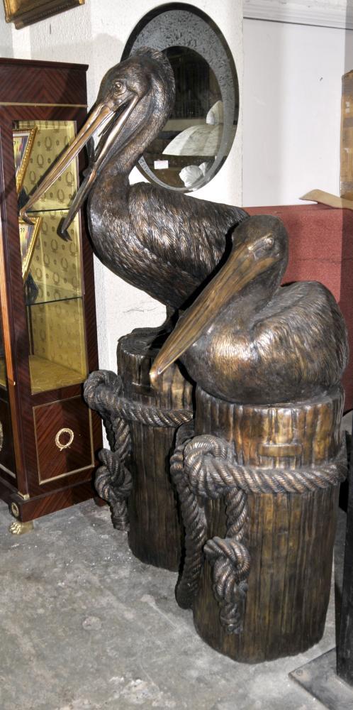 Paire géant californien Bronze Statues Pelican Oiseaux