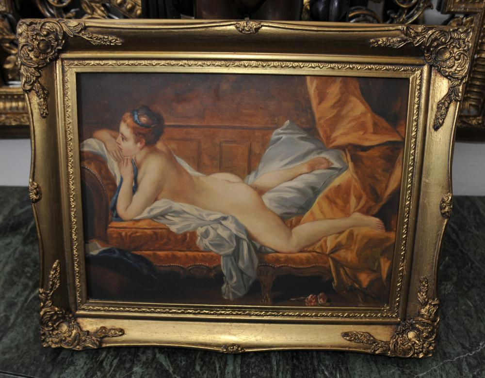 Peinture à l'huile English Femme nue Odalisque Signé R Wilson