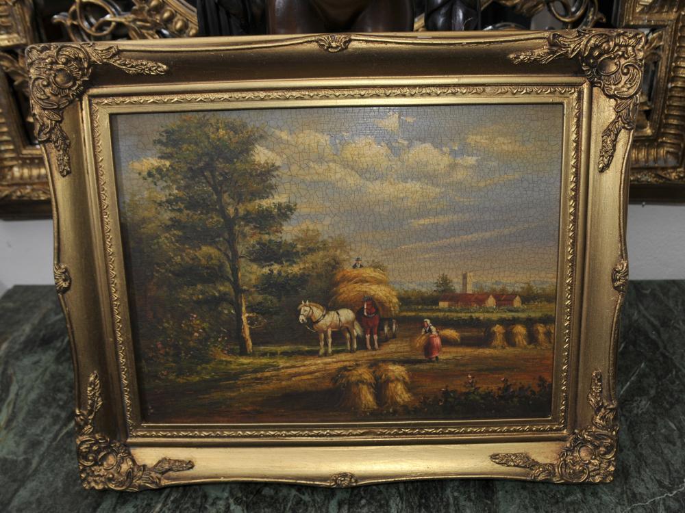Peinture à l'huile rustique d'époque victorienne Suffolk Paysage