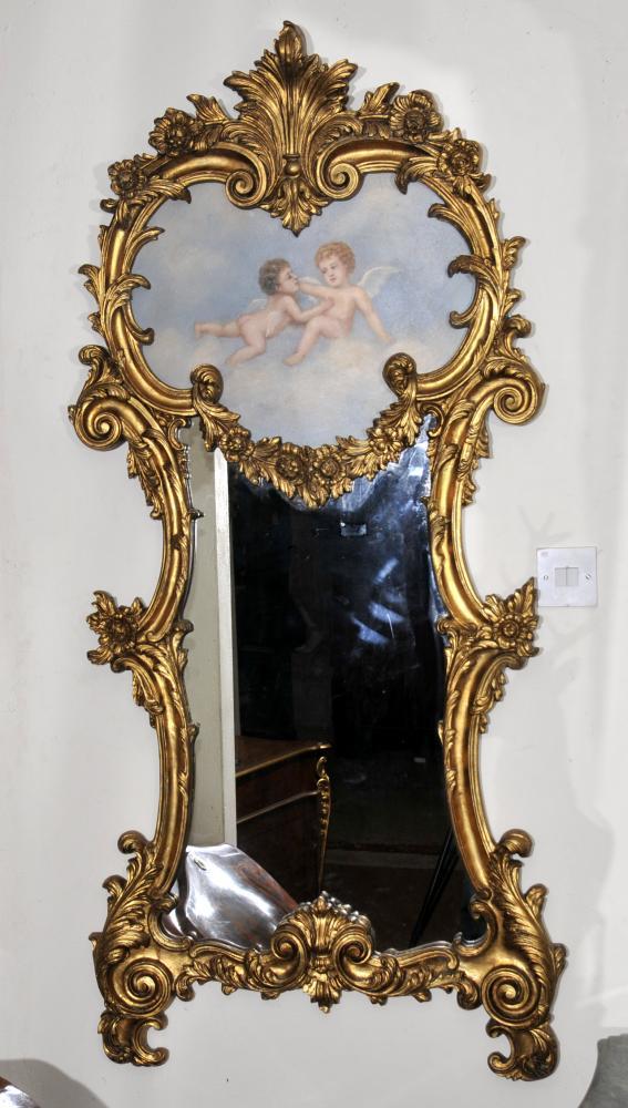 Rococo français Chérubin Gilt Pier verre miroir Miroirs Putti