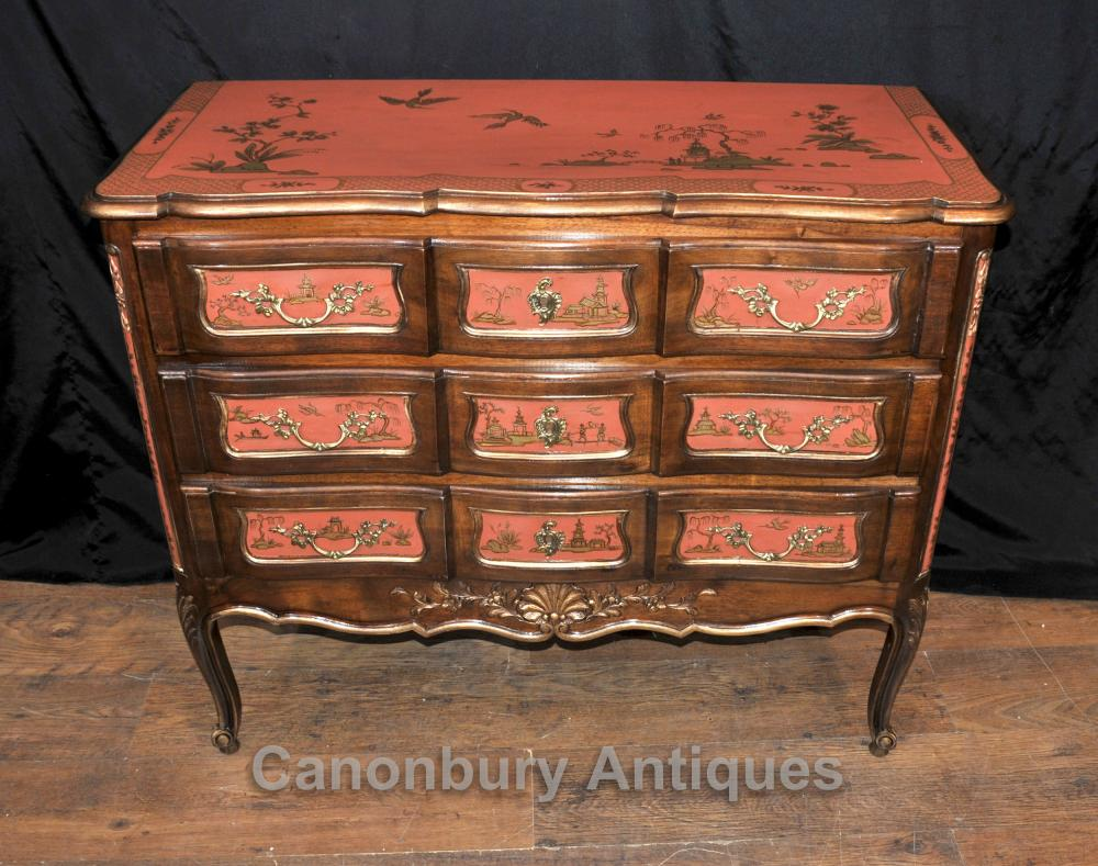 Antique Chest tiroirs Commode Laque de Chine Chinoiserie 1890