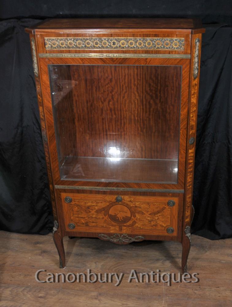 Antique Napoléon III Affichage verre Cabinet Bijouterie