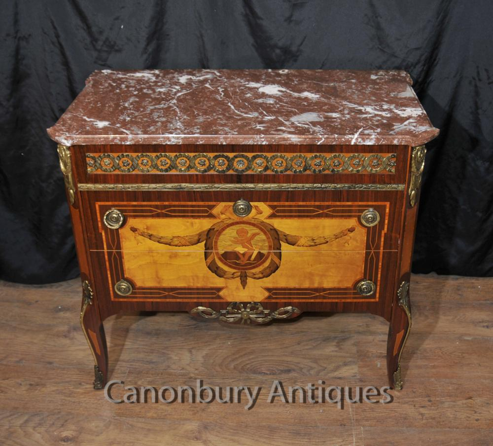 Antique français Commode Marqueterie Inlay Chest Tiroirs Empire