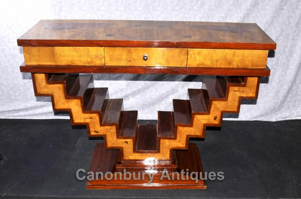 Art déco moderniste Console Table Marqueterie Inlay Retro Meubles
