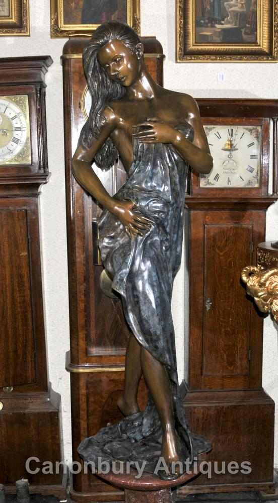 Big français Bronze Art Nouveau Femme Figure Fountain Statue