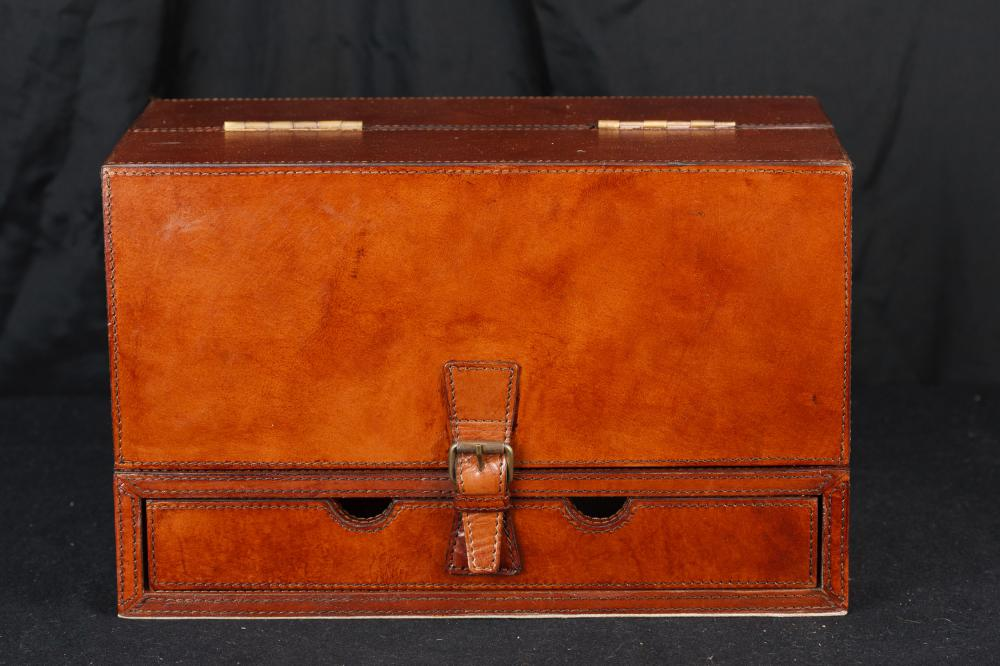 Cuir Bound Letter Box Writing Desk Set papeterie campagne Steamer Trunk