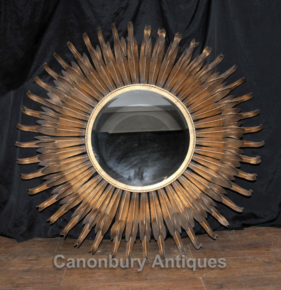English Art Nouveau Starburst Gilt Mirror Antique Miroirs Verre